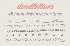$3 45 Hand Drawn Vector Lines ~~ This is the 2nd release in the doodle art set.  These whimsical lines could be used for web as well as print design.  They are in vector format for easy scalability and customization.  The set comes with 45 fun and girly lines.  Just a note not all are inc…