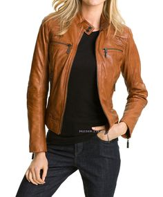 Handmade women brown leather jacket womens leather by Besteshop, $149.99