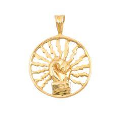 14K Gold Pendant with Power Symbol  by EncoreJewelryandGems