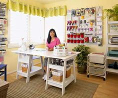 Pretty scraproom. Nice storage ideas and decor.  Like the pegboard!