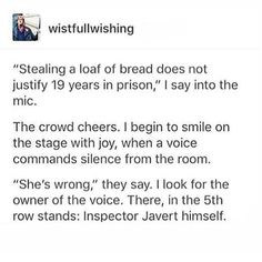 well yeah but repeatedly escaping prison is why he had such a long sentence. on the other hand, how iconic Les Miserables Funny, Les Miserables Book, Theatre Nerds, Music Theater, Broadway Theatre, Musicals Broadway, Sad Movies, Singing Career, Period Dramas