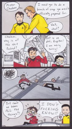Although I do love Chekov, surely there we're people more qualified to do some of those things than him!