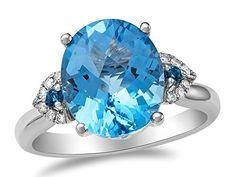 LALI Classics 14kt Swiss Blue-Topaz and London Blue-Topaz Oval Ring