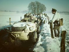 Several VW Schwimmwagens in winter conditions
