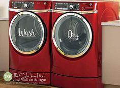 Wash Dry Decals  Laundry Room Decor  Vinyl by thestickerhut