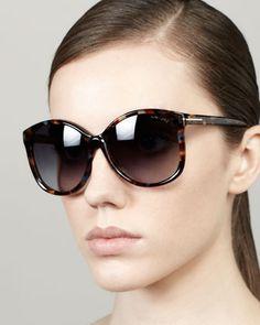 Carli Angled Round Sunglasses, Violet Havana by Tom Ford at Bergdorf Goodman.
