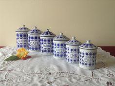 Beautiful, Set of 6 Enamel Kitchen Storage Pots, Vintage French, Enamel Metal Canisters, Wonderful Blue on White Enamel, Circa 1920's. by ScottsFrenchTreasure on Etsy https://www.etsy.com/listing/249736480/beautiful-set-of-6-enamel-kitchen