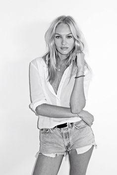 candice swanepoel, model style, denim shorts, simple chic