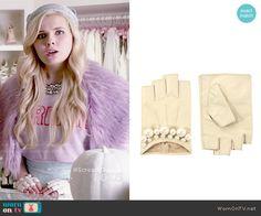 Chanel 5's fingerless gloves with pearls on Scream Queens.  Outfit Details: http://wornontv.net/52687/ #ScreamQueens
