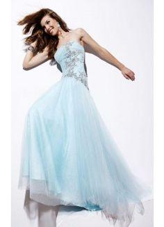 Trendy Sheath Sleeveless Tulle Brush Train Strapless Prom Dresses - Wedding Dresses