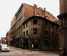 Old Montreal, corner of Rue Saint-Paul and Rue Saint-Jean-Baptiste Old Montreal, Montreal Canada, Saint Jean Baptiste, Rues, Silhouettes, Buildings, Photos, Corner, Street View