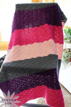 Free Crochet Pattern. Crochet wave stitch tutorial and free pattern shown as a blanket / afghan!! Easy and super simple to learn! Would make a great baby gift !! #howto #rescuedpaw