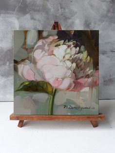 Small painting flowers on canvas original, Art painting peonies flowers, White peony wall art, Peony painting Realistic Oil Painting, Oil Painting Flowers, Watercolor Paintings, Painting Art, Art Paintings, Flower Canvas Art, Flower Art, Venus Painting, Small Canvas Paintings