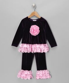 Take a look at this Purple Rose Velvet Tunic & Pants - Infant & Toddler by cachcach on #zulily today!