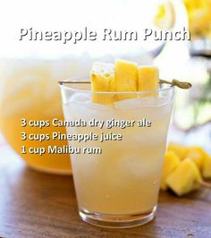 Cocktails With Rum - Trend Topic For You 2020 Refreshing Drinks, Fun Drinks, Yummy Drinks, Party Drinks, Easy Rum Drinks, Drinks With Rum, Liquor Drinks, Cocktail Drinks, Malibu Rum Drinks