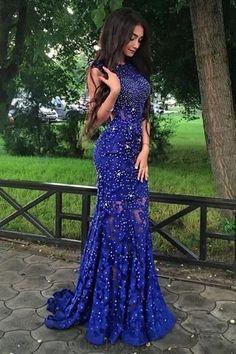 Prom Dresses Lace #PromDressesLace, Prom Dresses 2018 #PromDresses2018, Prom Dresses Blue #PromDressesBlue, Mermaid Prom Dresses #MermaidPromDresses, Backless Prom Dresses #BacklessPromDresses