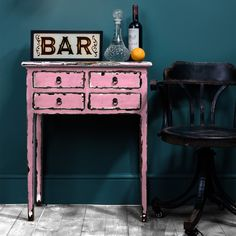 pink distressed console table as seen in living etc magazine