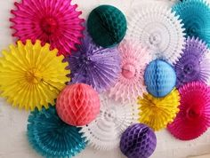 Honeycomb paper party decoration wall display - fan flowers and half balls - multi-colour