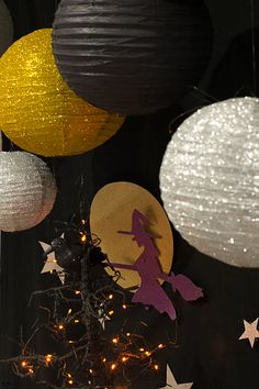 Halloween Backdrop with Paper Lanterns