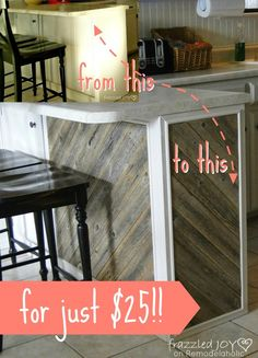 $25 Rustic Reclaimed Wood Plank Kitchen Island Tutorial, Frazzled Joy on Remodelaholic.com #kitchenisland #reclaimedwood Planked Island, Wood Kitchen Island, Kitchen Redo, Kitchen Remodel, Kitchen Ideas, Reclaimed Wood Kitchen, Plank Flooring, Home Improvement Projects, Joy