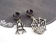 Spider and Web Ear Cuffs Goth Halloween Jewelry - Silver Tone by fripparie from fripparie. Visit http://ift.tt/1o0ATec for more awesome steampunk fantasy and goth jewelry and accessories.