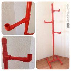 #Perchero casero de tubos de #PVC económico, ligero y fácil de hacer. #DIY: