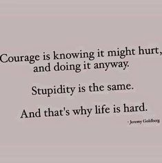 """courage is knowing it might hurt, and doing it anyway. Stupidity is the same. And that is why life is hard."" -- Jeremy Goldberg Cool Words, Wise Words, Quotable Quotes, Great Quotes, Love Quotes, True Stories, Sign Quotes, Funny Quotes, I Love To Laugh"