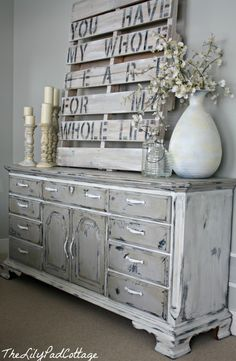"""*Chalk paint furniture to get a """"distressed"""" look"""