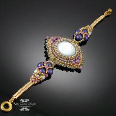 Sparkling Netted Bracelet, Beadweaving, Purple, Lavender, Gold