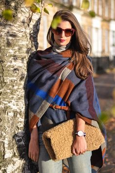 belted colour block blanket wrap & DIY shearling clutch