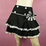 Short Black Cotton White Lace Trim Sweet Loli... – USD $ 49.99