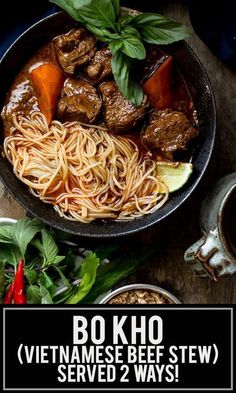 This flavorful Bo Kho (Vietnamese beef stew) recipe has all the flavors of a traditional beef stew with additional aromatics from lemongrass & star anise! Vietnamese Beef Stew Recipe, Vietnamese Cuisine, Beef And Noodles, Beef Noodle Soup, Asian Recipes, Healthy Recipes, Ethnic Recipes, Healthy Food, French Recipes