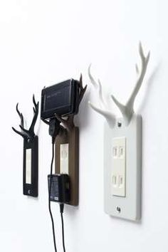 Deer horn electric socket cover. Clever