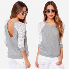 Grey 10-12 Womens Round Neck Lace Long Sleeve Backless T Shirt Blouse Loose Top