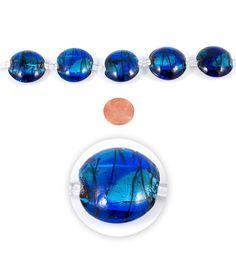 Blue Moon Strung Art Glass Beads,Flat Round,Light & Dark Blue,Swirl