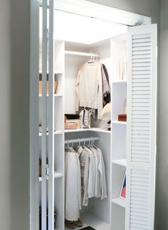 DIY Custom Closet Shelving (for deep closets) is part of Deep Closet Organization - Learn how to build a stunning custom closet system that doesn't waste any space! These free build plans are perfect for deep closets that are not walk in Small Deep Closet, Small Closet Design, Small Closet Space, Tiny Closet, Bedroom Closet Design, Small Closets, Closet Designs, Build In Closet, Closet Ideas For Small Spaces Bedroom