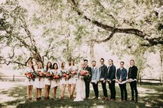 Short dressed bridesmaids + denim dudes= wedding party goals | Image by India Earl