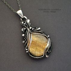 DROP OF HONEY pendant, silver, labradorite. by KL-WireDream on DeviantArt