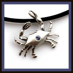 SS Crab Pendant with Blue Sapphire - Sapphire - Birthstone of September Jewelry by Baytowne Jewelers