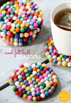 Felt Wood Ball Coasters. Cute! (Check this out + 26 other spring ideas! via lollyjane.com)