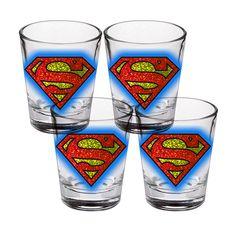 Fab.com | Superman Glitz Shot Glass 4 Pack