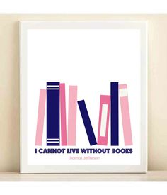 Pink and Navy 'I Cannot Live Without Books by AmandaCatherineDes, $15.00