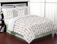 Sweet Jojo Designs Grey Coral and Mint Woodland Arrow Print Girls 3 Piece Childrens Teen Full  Queen Bedding Set *** You can get additional details at the image link.