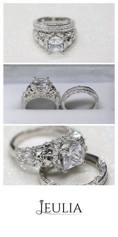 Princess Cut White Sapphire With Marquise Sidestone Skull Ring #Jeulia