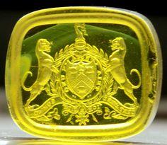 Antique Georgian Glass Knights Commander Order Bath Intaglio Wax Seal BRISBANE
