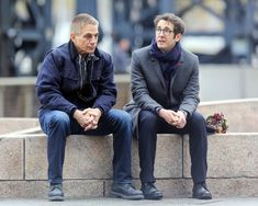 Tony Danza and Josh Groban are seen on the movie set of Netflix's 'The Good Cop'.