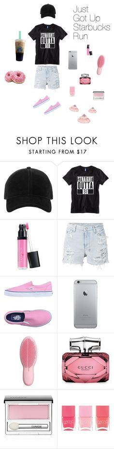 """""""Just Got Up Starbucks Run"""" by jacobsartoriusisbae-1 ❤ liked on Polyvore featuring rag & bone, Laura Geller, Ksubi, Vans, Tangle Teezer, Gucci, Clinique and Nails Inc."""
