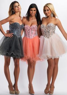Buy now Dave & Johnny 7521 gray, coral, pink short beaded sweetheart prom dresses available now at RissyRoos.com. #RissyRoosProm