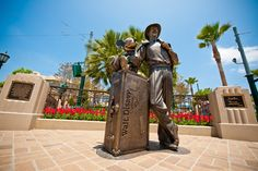 Storytellers Statues on Buena Vista Street in Disney California Adventure - I can see myself in this picture soon!!