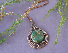 Items similar to Bottle green agate necklace, Wire wrapped copper necklace, Round stone copper wire pendant on Etsy Wire Necklace, Copper Necklace, Quartz Necklace, Copper Jewelry, Crystal Jewelry, Wire Jewelry, Gemstone Jewelry, Copper Wire, Necklaces